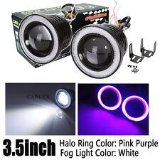 Pair 3.5inch LED Driving Head Fog Light w/ Pink Angel Eyes Halo Ring Auto 12V