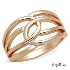WOMEN'S ROSE GOLD PLATED STAINLESS STEEL WIDE BAND FASHION RING SZ 5,6,7,8,9,10