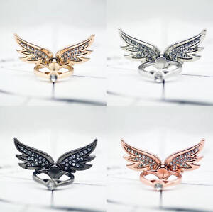 Universal 360 Finger Ring Stand Holder For Cell Phone Tablet CRYSTAL ANGEL WINGS