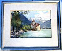 vorzügliches Aquarell Schloss Chillon Genfer See signiert Mare Künstlerarbeit