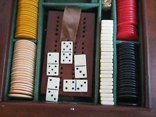VINTAGE ALBRO TRAVEL GAMES SET CRIBBAGE / DOMINOES IN LEATHER CASE