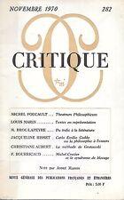 revue critique minuit novembre 1970 N° 282