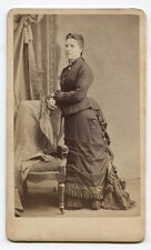 CDV WOMAN IN STANDING PROFILE POSE. BABY GOT BACK. N.Y.