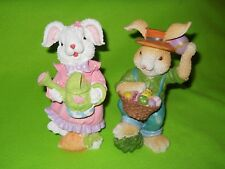 """�Pair Easter Bunnies ~ 7.5"""" Tall Resin ~Male @ basket eggs / Female @ water can"""