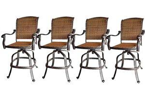 Outdoor bar stools Santa Clara wicker swivel set of 4 cast aluminum patio.