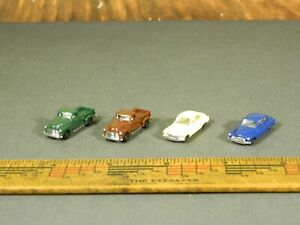 N Scale Accessories LOT of FOUR (4) BUSCH 1940s ASSORTED CARS / PICKUPS