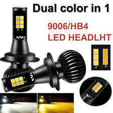 2X 9006/HB4 Car LED Fog Light Bulbs White+Yellow Dual Color Auto Headlight 160W