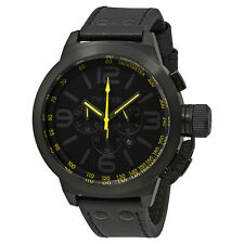 TW Steel Canteen Chronograph Black PVD Steel Black Leather Mens Watch TW901R