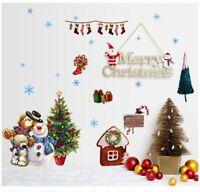 Weihnachten Wandtattoo Merry Christmas Winter Wandsticker  Bär Schneemann