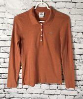 LACOSTE Long Sleeve Polo Shirt Heather Orange Womens Size 42