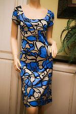 KAREN KANE Blue Taupe Black Empire Waist Knee Length Rayon Wiggle DRESS M EUC
