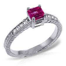 Platinum Plated 925 Sterling Silver Ring w/ Natural Diamonds & Pink Topaz