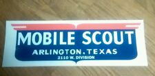 Mobile Scout Vintage Travel Trailer decal red, white & blue Arlington,Texas 13""