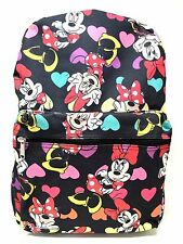 """Disney Minnie Mouse Allover Print 16"""" Girls Large School Backpack-black"""
