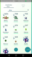 Pokemon mini account go , shiny party hat nidorino,Shiny Houndour,Grimer,kabuto