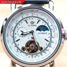 Mens Flywheel Skeleton Automatic Wind Mechanical Move Moon Phase Wrist Watch