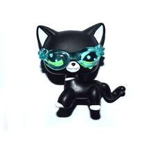 Littlest Pet Shop Animal Green Eyes Black Cat With Sunglass Figure Child Toy