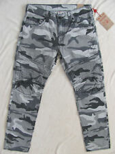 True Religion Men's Slim Leg Fit Moto Jeans in Grey Camo Size 28x34