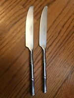 Hampton Silversmiths Stainless 3~Sections BAMBOO 2 Dinner Knives 8 7/8""