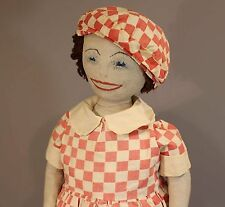 Wonderful Homemade Cloth Doll - In Red Check Dress & Cap