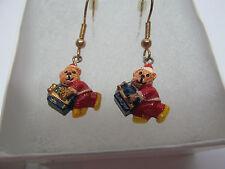 Vintage Earrings Santa Teddy Bear Messenger Dangle Goldtone Christmas Earrings