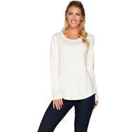 Isaac Mizrahi Live Essentials Pima Cotton Top w/ Shirttail Hem Color Cream Small