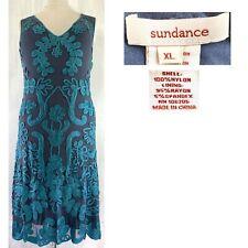 SUNDANCE Women's XL Teal Ribbon Applique Sleeveless V Neck Midi CAMEO Dress EUC