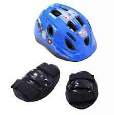 Raleigh Mystery Hero Boys LED Bike Cycle Safety Helmet Elbow Knee Pad Set Blue 48cm-54cm