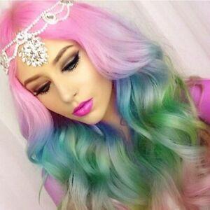 Long Wavy Colorful Cosplay Wig Diamond Mermaid Women Party Halloween Hairstyle