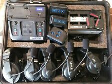 HME Clear-Com Wireless Intercom System Base 3 Beltpacks 5 Headsets Charger Case