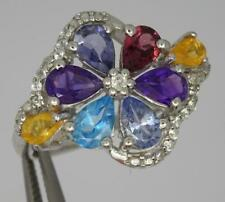 ***Beautiful Sterling Silver Natural Mixed Gemstone Ring Size S-5.2 Grams**