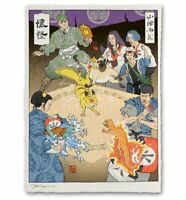 Pokemon Battle Japanese Edo Style Limited Giclee Poster Print Art 12x17 Mondo