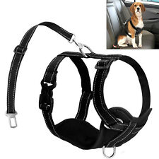 Reflective Mesh Padded Dog Car Harness and Pet Seat Belt Clip Lead Safety Travel