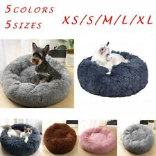 Pet Dog Cat Calming Bed Soft Plush Round Bed Marshmallow Fluffy Cushion Mat