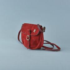 Vintage 70's Red Real Suede Leather Shoulder Bag Handbag Coin Purse Boho Retro