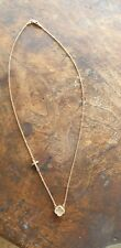 9CT SOLID ROSE/PINK GOLD  NECKLACE/CHAIN WITH CUBIC ZURCONIA CROSS & CLOVER