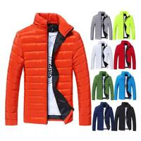 Winter Mens Light Down Jacket Padded Cotton Outwear Warm Coat Slim-Solid-Color
