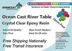Ocean Cast River Table PourOn CRYSTAL CLEAR EPOXY RESIN 2A:1B EasyCast DIY Kit