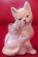 Vintage Enesco Pearlized Iridescent Seated Cat Figurine Fabric Bow Taiwan R.O.C.