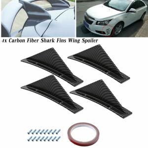 4x Carbon Fiber Style Shark Fins Wing Car Bumper Lip Diffuser Splitter Spoiler