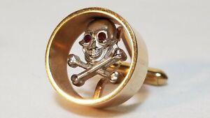 c 1960/70 Signed Swank Floating Skull & Cross Bones with Rhinestone Eyes