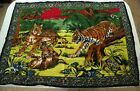 """Vintage 80s Velvet Tapestry Wall Hanging Art Tigers Cats Hippy Boho 40"""" x 54"""""""