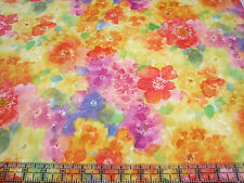 2.3 Yards Cotton Fabric - Quilting Treasures Sun Kissed Bright Watercolor Floral