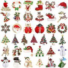 Christmas Tree Santa Claus Deer Snowman Brooch Pin Xmas Party Fashion Women Gift