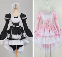 Ladies Princess Dress Dovetail Dress Long Sleeve Lolita Maid Costume Cosplay