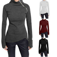 Women Casual Solid Blouse Long Sleeve Pullover Turtleneck Zipper Sweatshirt Tops
