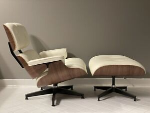 Herman Miller Eames Lounge Chair & Ottoman - Walnut Ivory Leather Stunning tags