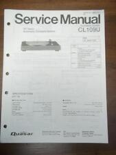Quasar Service Manual for the Model CL109U Turntable~Original