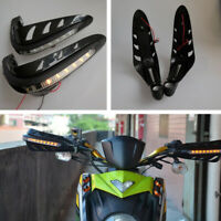 "7/8"" 22mm Motorcycle Handlebar Hand Guard Protector Yellow LED Turn Signal Light"