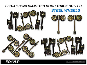Eltrak Shed Door Track Roller 4 Wheel Steel Carriage 36mm Diameter Wheels